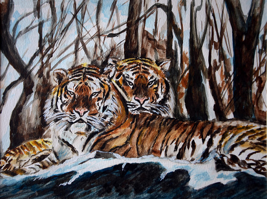 Tiger Painting - Resting by Harsh Malik