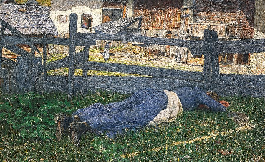 Neo-impressionism Painting - Resting In The Shade by Giovanni Segantini