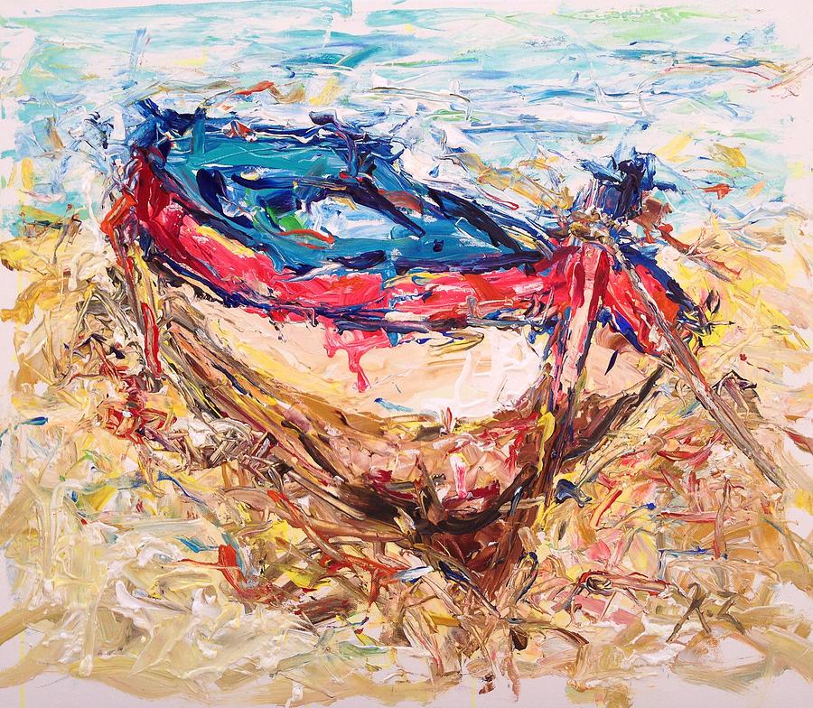 Beach Painting - Resting by Khalid Alzayani