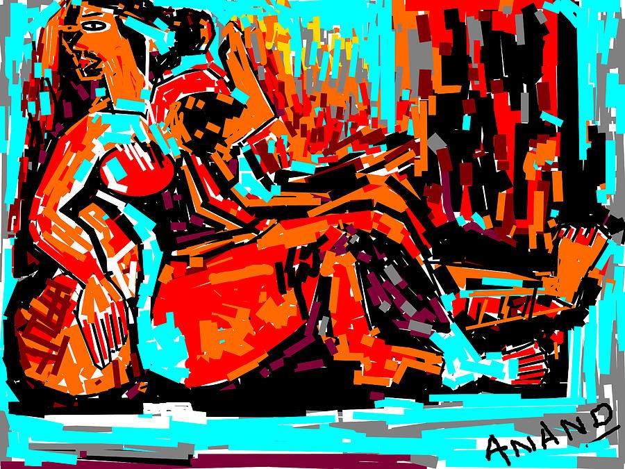 Flowers Digital Art - Resting Lady by Anand Swaroop Manchiraju
