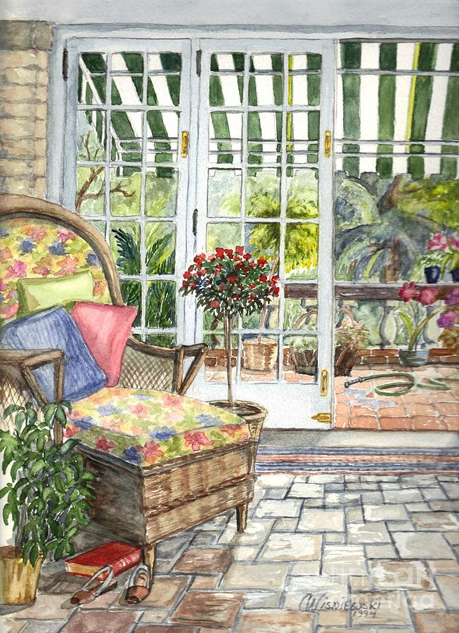 Scenery Painting - Resting On The Lanai Part 1 by Carol Wisniewski