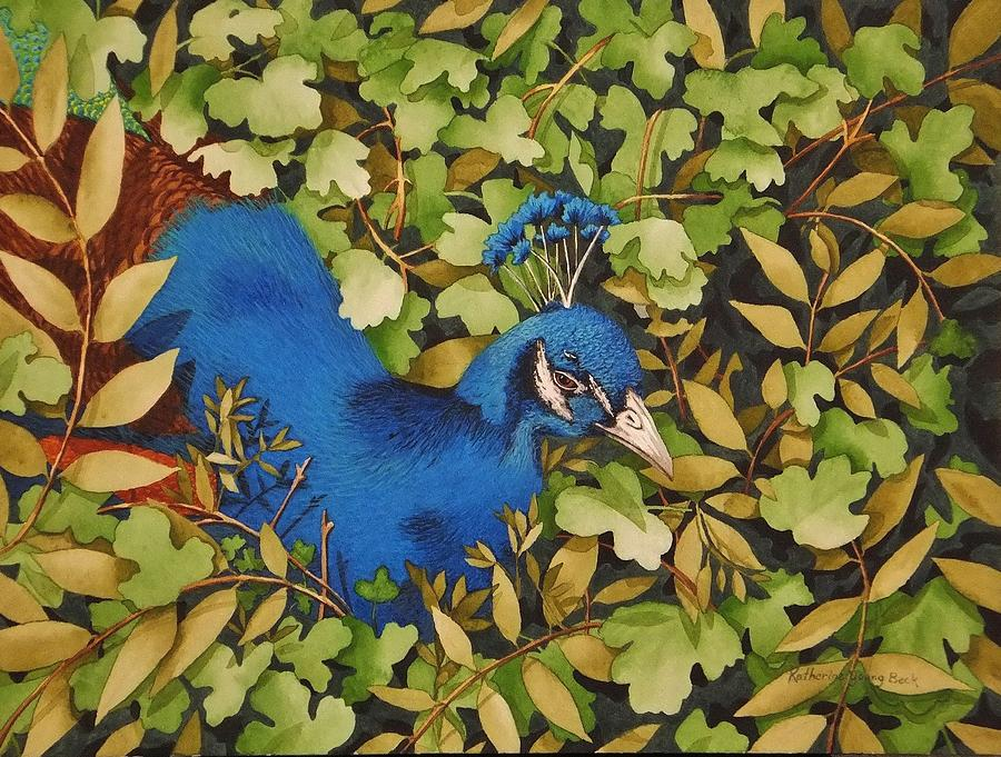 Print Painting - Resting Peacock by Katherine Young-Beck