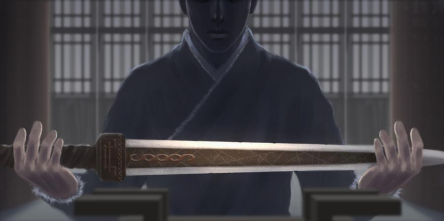 Hiroshi Painting - Resting Sword by Hiroshi Shih