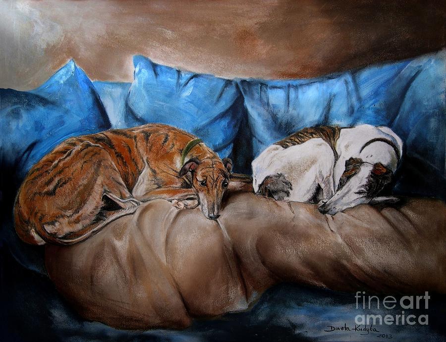 Dog Painting - Resting Time by Dorota Kudyba