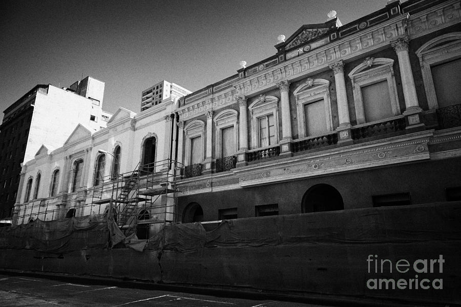 Santiago Photograph - restoration of old colonial buildings damaged by earthquake compania de jesus Santiago Chile by Joe Fox