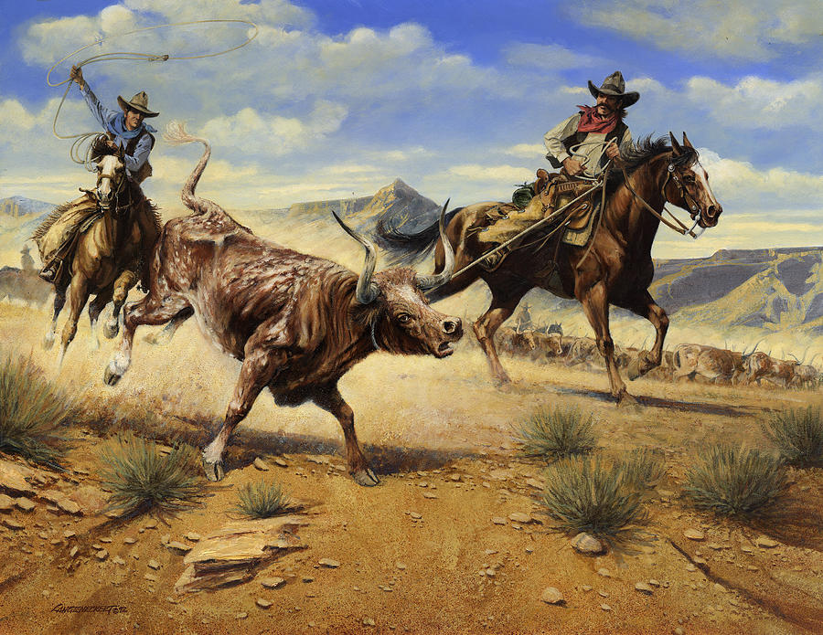 Cowboys Painting - Restraint 2 Cowboys Roping A Steer by Don  Langeneckert