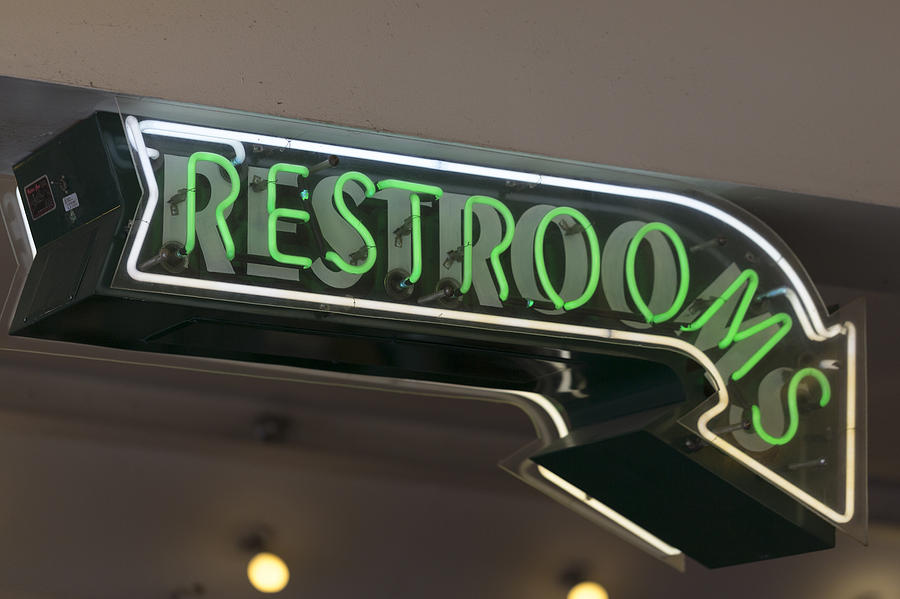Restrooms in Neon by Scott Campbell