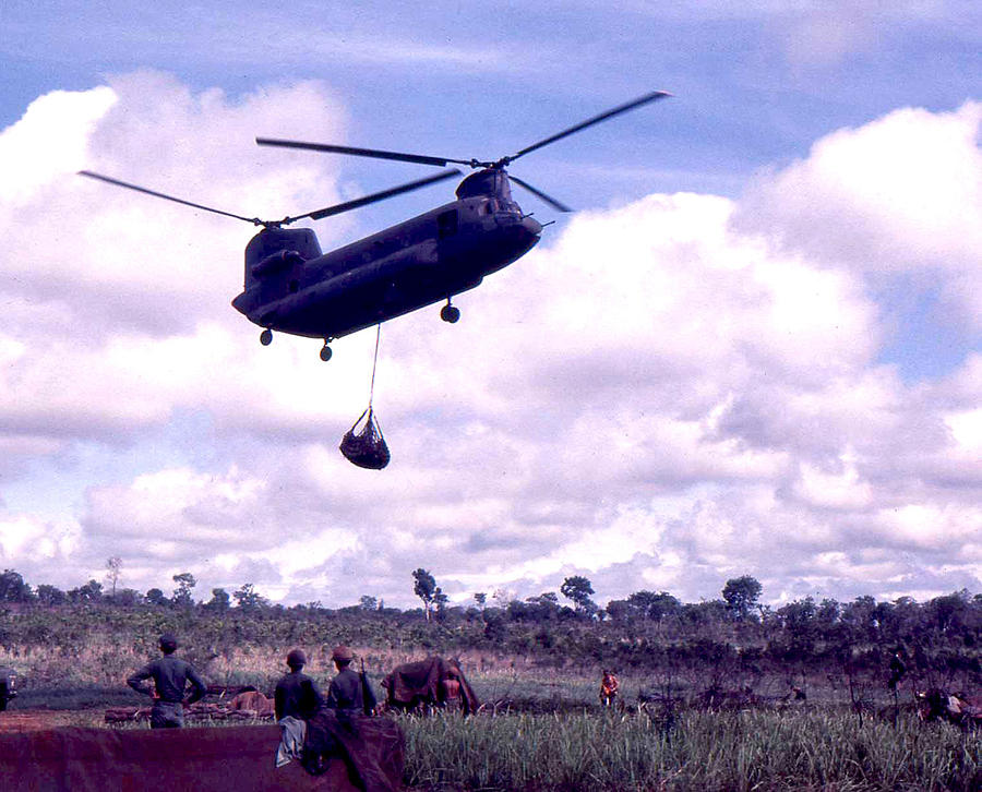 Chinook Helicopter Photograph - Resupply by Norman Johnson