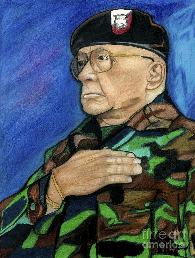 Portrait Landscape Drawing - Ret Command Sgt Major Kittleson by Jon Kittleson