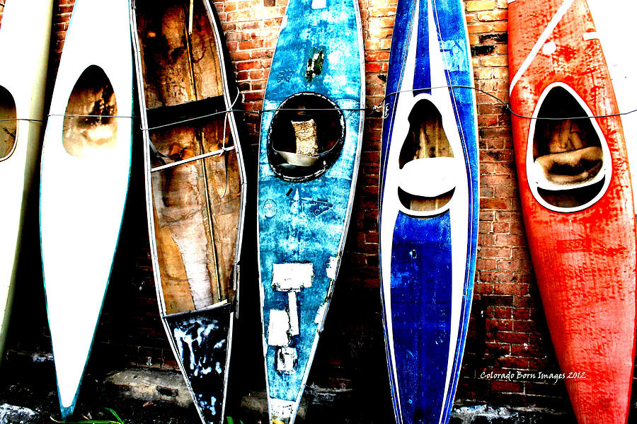 Kayak Photograph - retired Kayaks by Rebecca Adams