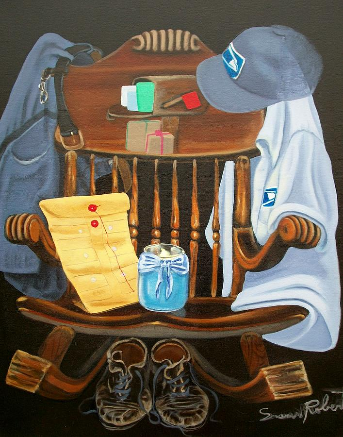 Oil Painting - Retiring Postal Worker Letter Carrier by Susan Roberts