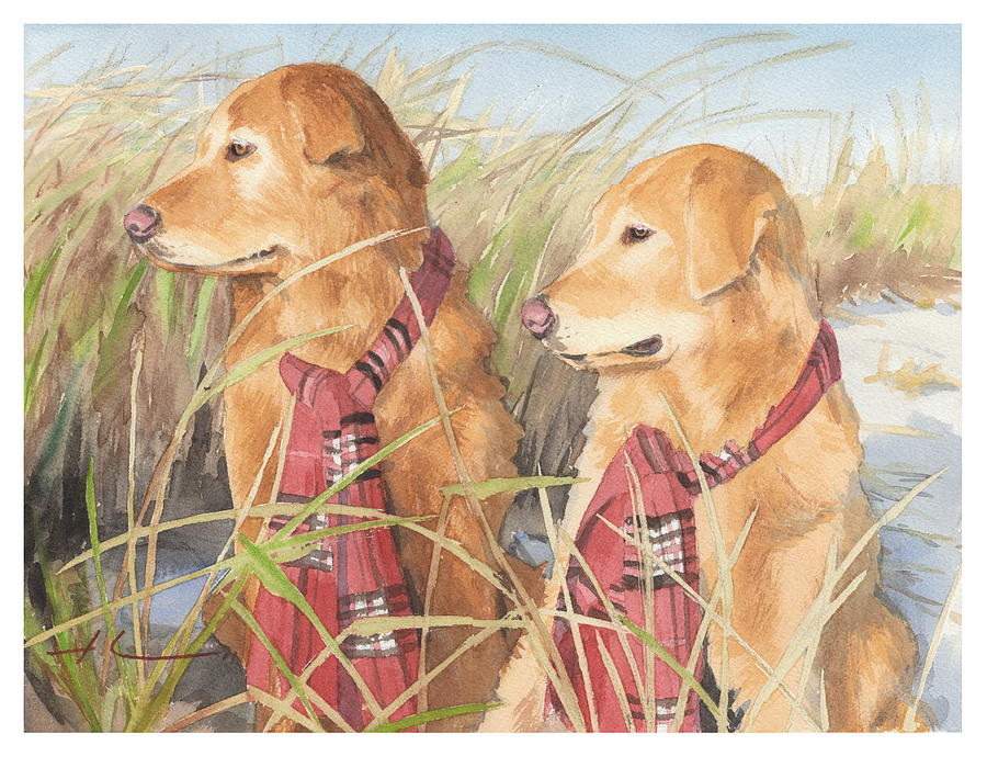 Retrievers In Dunes Watercolor Portrait Drawing by Mike Theuer