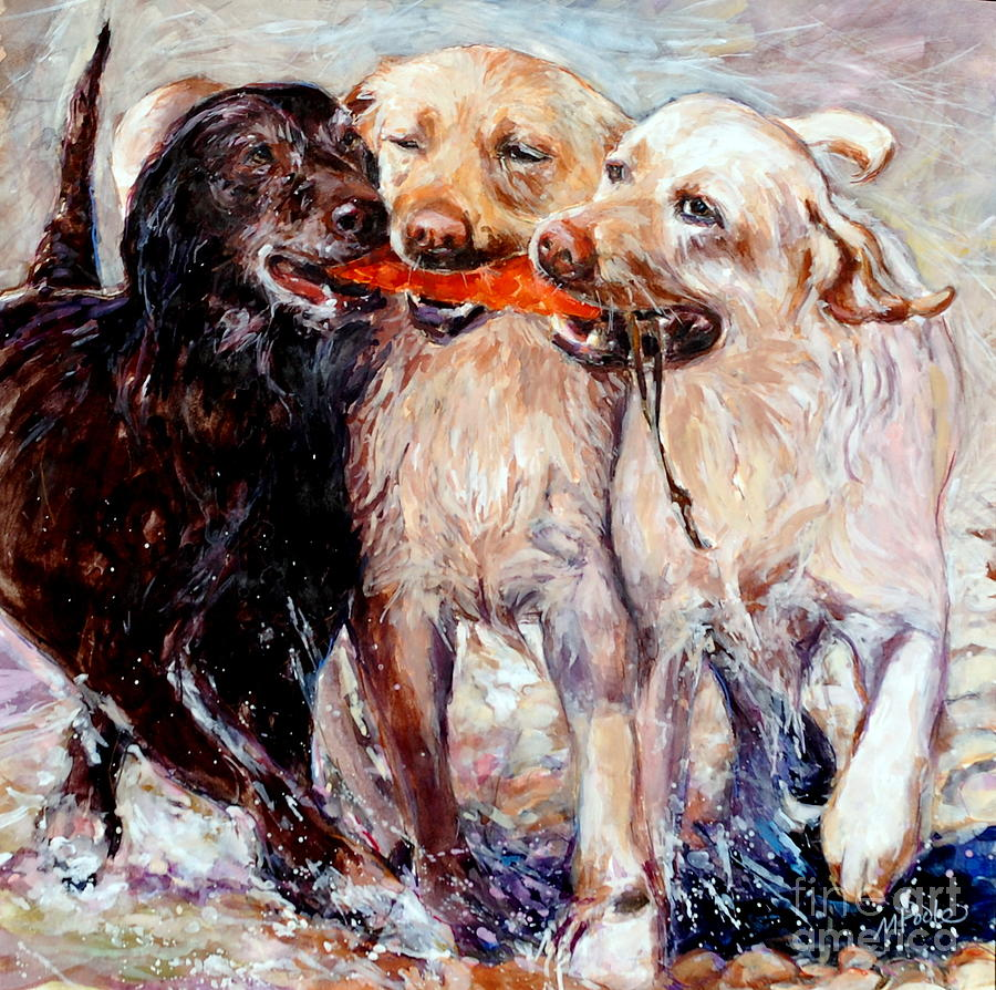 Labrador Retriever Painting - Retrieving Fools by Molly Poole