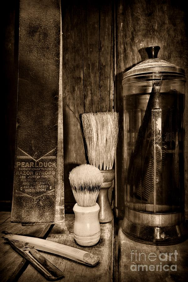 Paul Ward Photograph - Retro Barber Tools In Black And White by Paul Ward