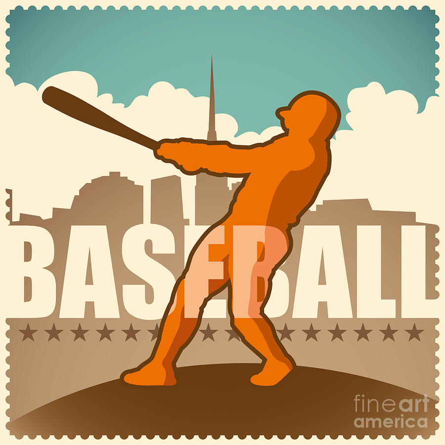 Play Digital Art - Retro Baseball Poster. Vector by Radoman Durkovic