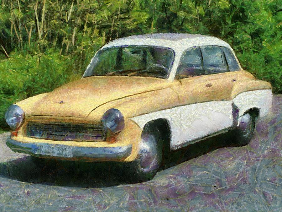 Vintage Car Painting - Retro Car Wartburg by Georgi Dimitrov