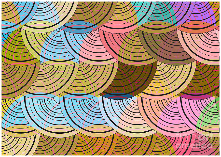Color Digital Art - Retro Circles Background by Pizla09