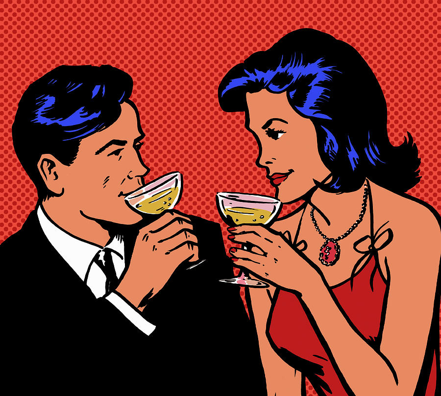 Retro Couple Drinking Champagne Digital Art by Jacquie Boyd