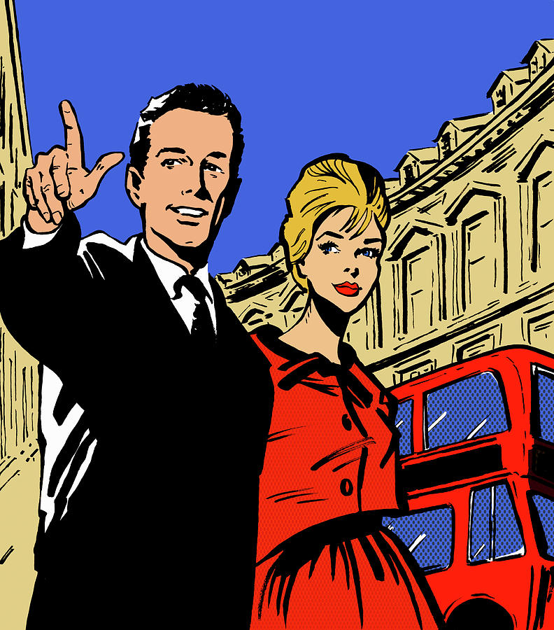 Retro Couple Sightseeing In London Digital Art by Jacquie Boyd