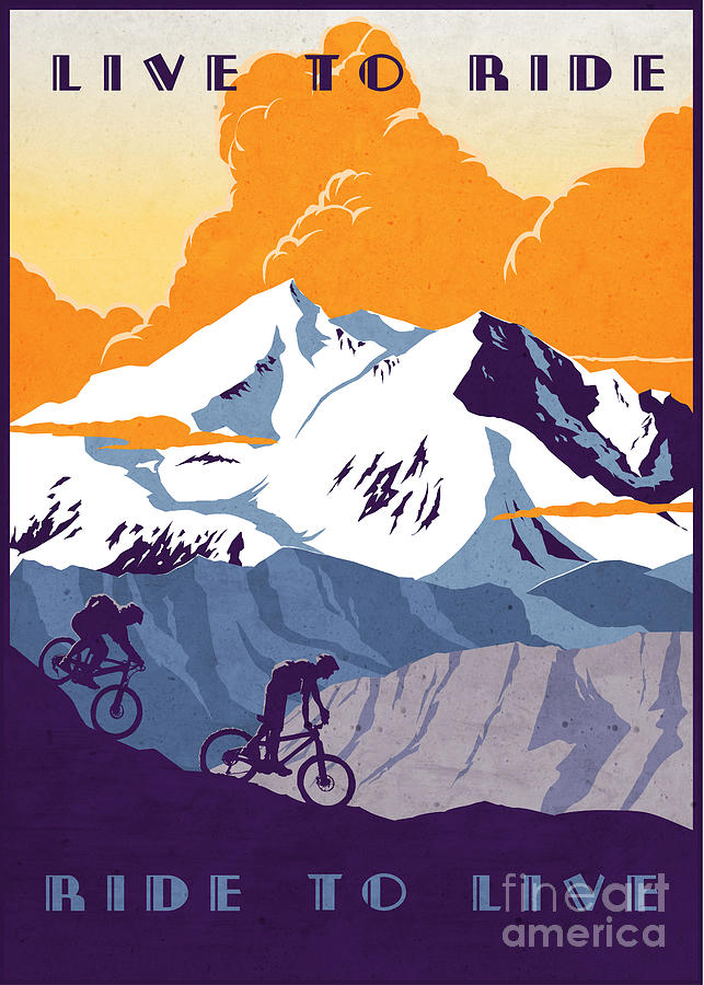 retro cycling poster Live to Ride Ride to Live  Painting by Sassan Filsoof