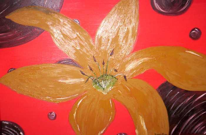 Gold Painting - Retro Flower by Becca Haney