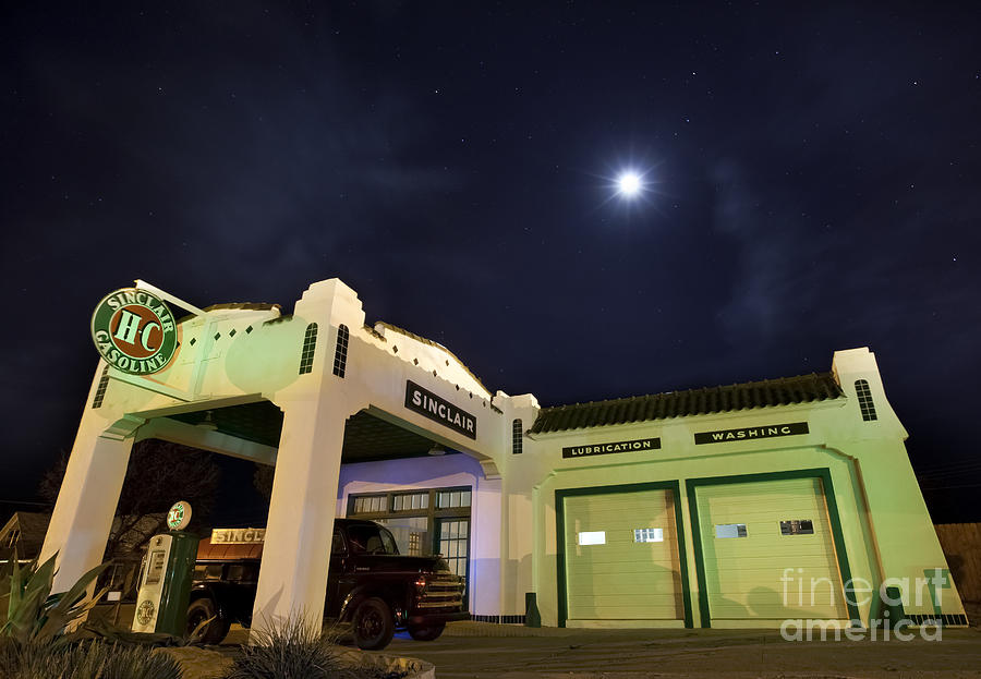Light Painting Photograph - Retro Gas Station by Keith Kapple