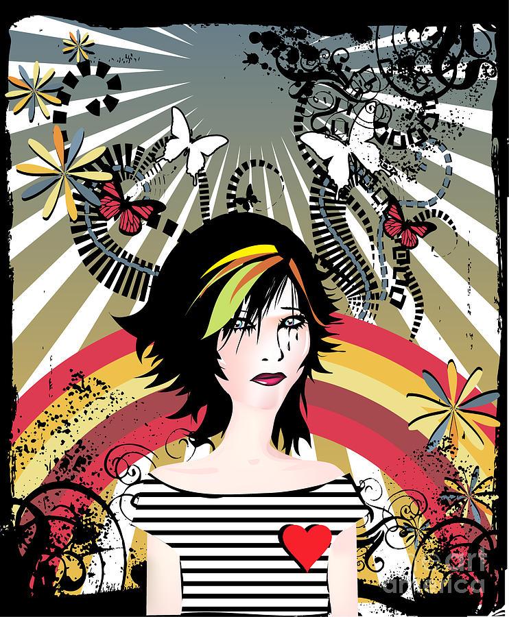 Curl Digital Art - Retro Girl by Irmak Akcadogan