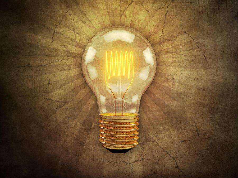 Retro Light Bulb Digital Art