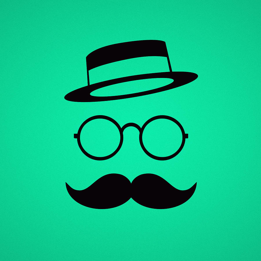Les Claypool Digital Art - Retro Minimal vintage face with Moustache and Glasses by Philipp Rietz