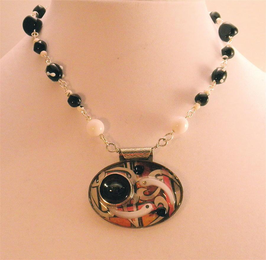 Retro Mod Pop Art Pendant Necklace by Outre Art  Natalie Eisen