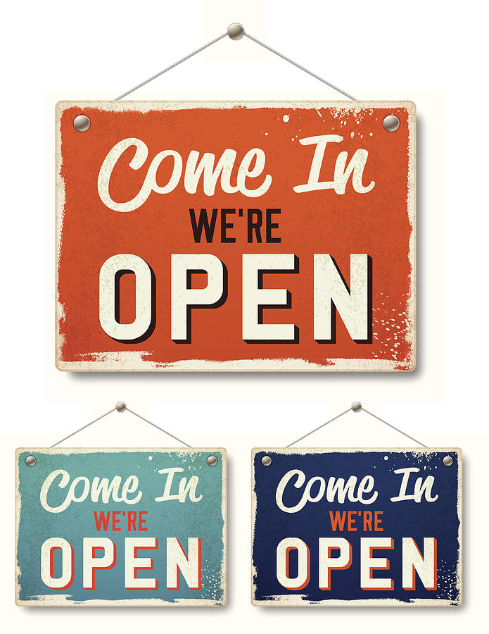 Retro Open Business Signs Drawing by Filo