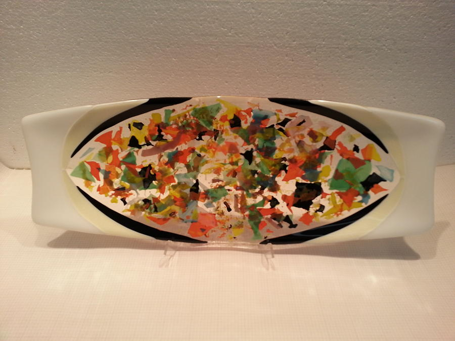 Retro Platter Glass Art by Jolinda Marshall