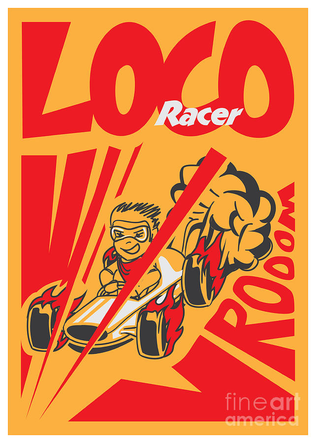 Motor Digital Art - Retro Poster Cartoon Vintage Race Car by Pedro Alexandre Teixeira