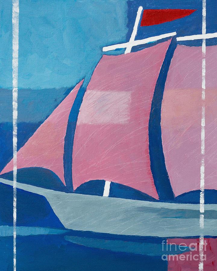 Ship Painting - Retro Ship by Lutz Baar