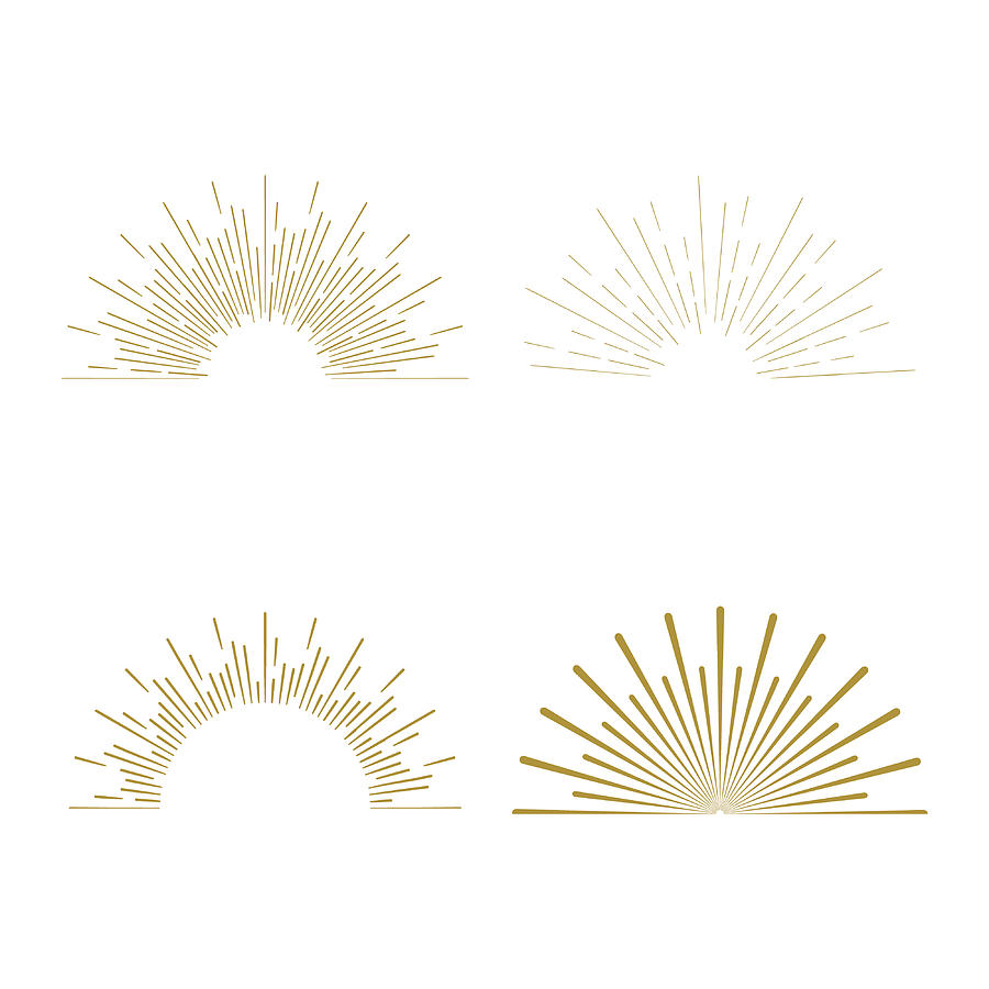 Retro Sun burst shapes. Vintage starburst logo, labels, badges. Sunburst minimal logo frames. Vector firework design elements isolated. Sun burst light logo. Minimal vintage gold firework burst icon Drawing by 21kompot