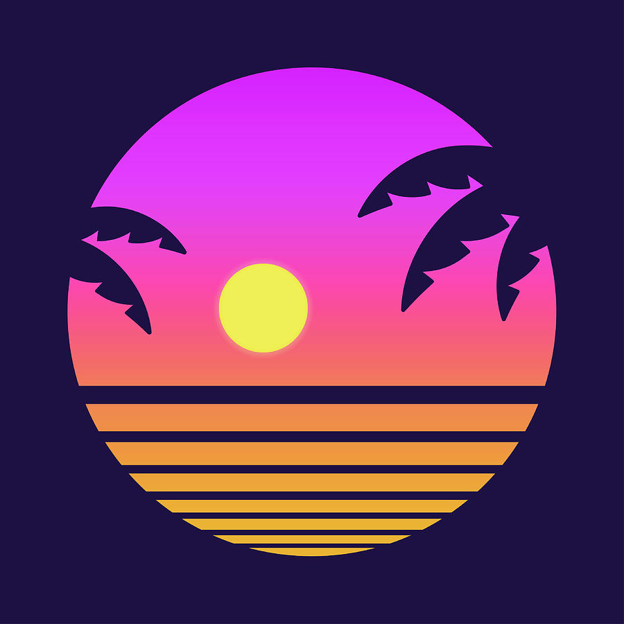 Retro Tropical Sunset Digital Art by Sudowoodo