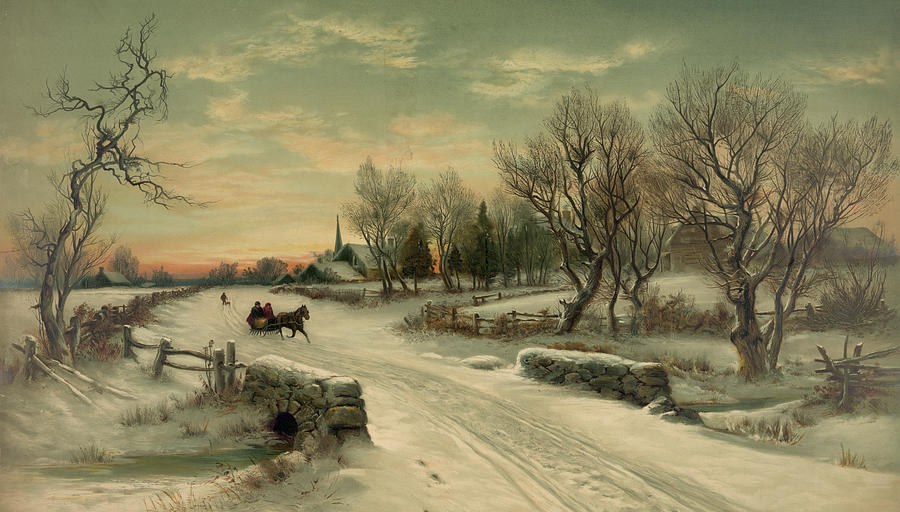 Retro Vintage Rural Winter Scene John Stephens on old hand radio