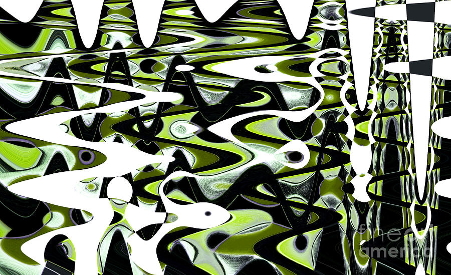 Abstract Photograph - Retro Waves Abstract - Lime Green by Natalie Kinnear