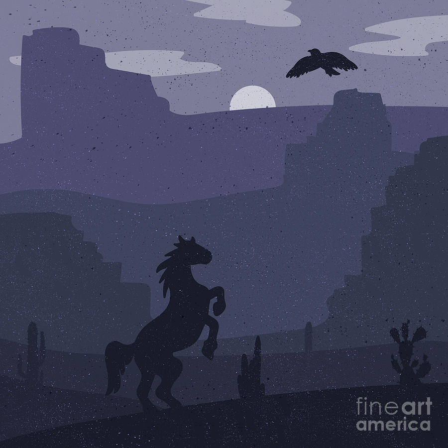 Heat Digital Art - Retro Wild West Galloping Horse In by Barsrsind