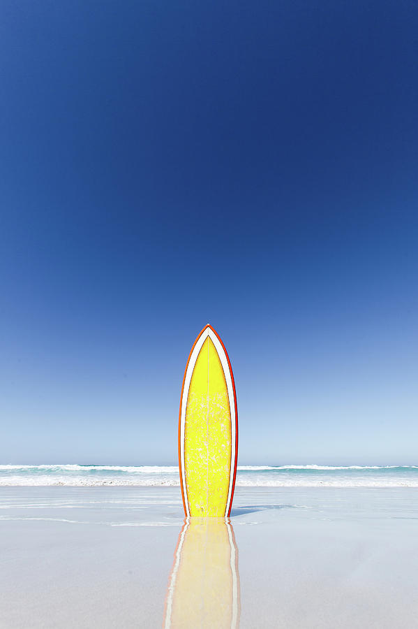 Retro Yellow Surf Board And Blue Sky Photograph by John White Photos