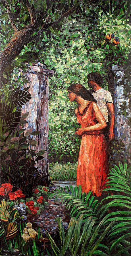 Garden Of Eden Painting - Return To Eden Partial View by Sandra Bryant
