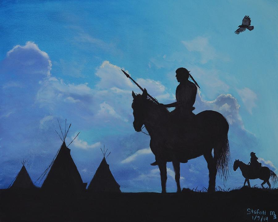 Indians Painting - Returning Home by Stefon Marc Brown