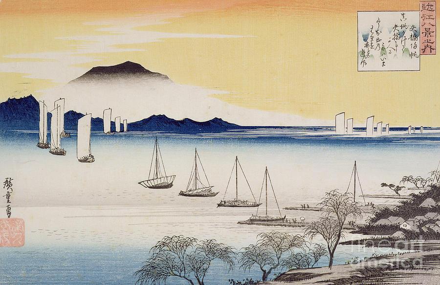Japan Painting - Returning Sails At Yabase by Hiroshige