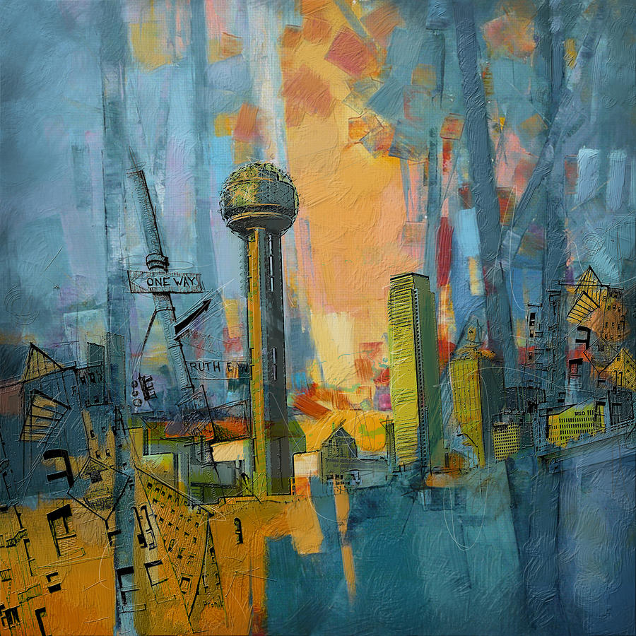 Reunion Tower Painting - Reunion Tower by Corporate Art Task Force