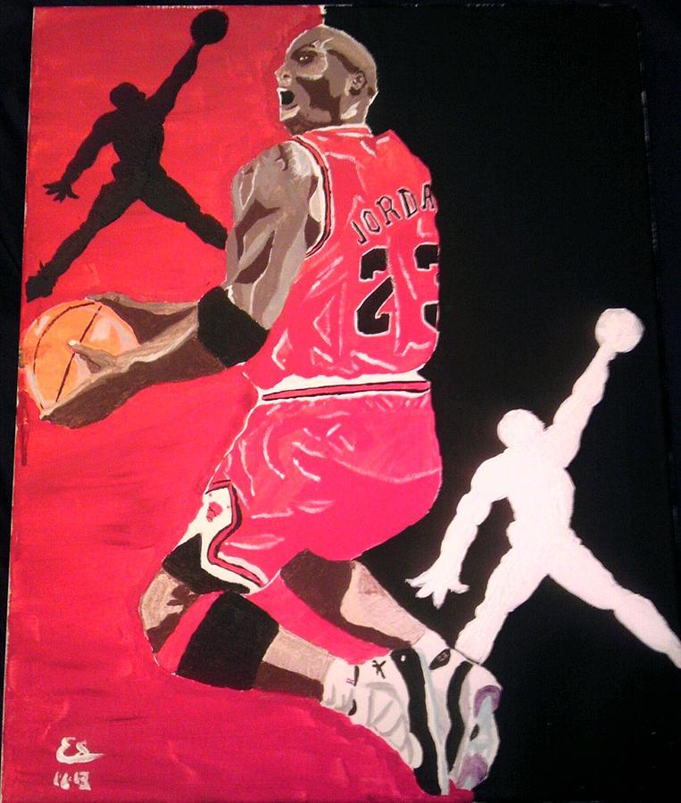 Jordan Painting - Reverse Jumpman Jordan by Edward Settles
