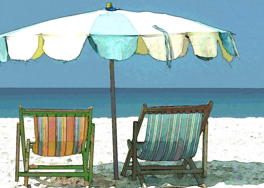 Seaside Beach Umbrella And Chairs