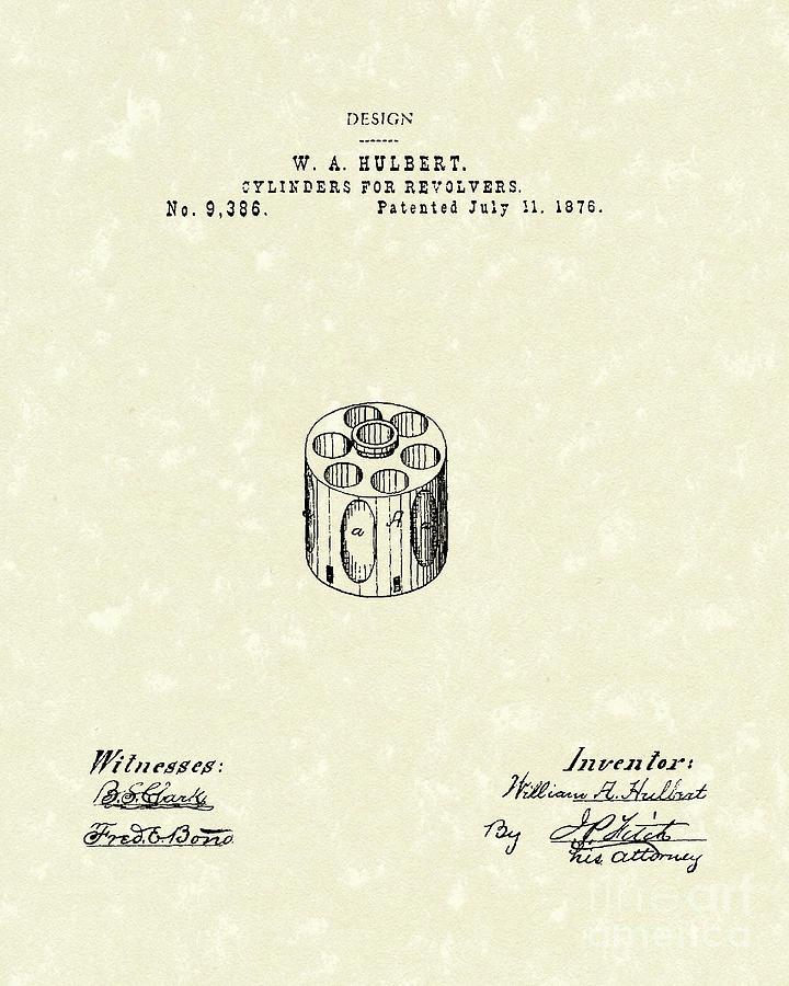 Hulbert Drawing - Revolver Cylinder 1876 Patent Art by Prior Art Design