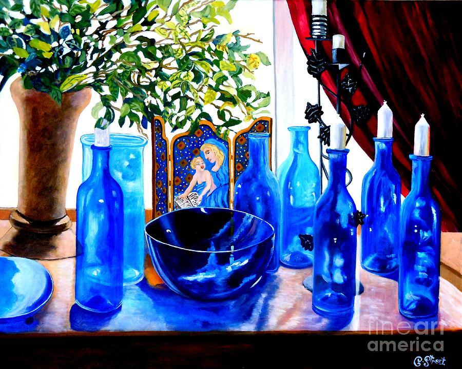 Still-life Painting - Rhapsody In Blue by Caroline Street