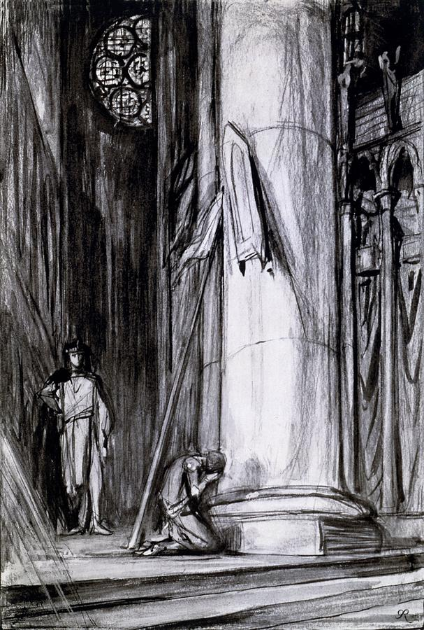 Reims Drawing - Rheims Cathedral, Scene From St Joan by Charles Ricketts