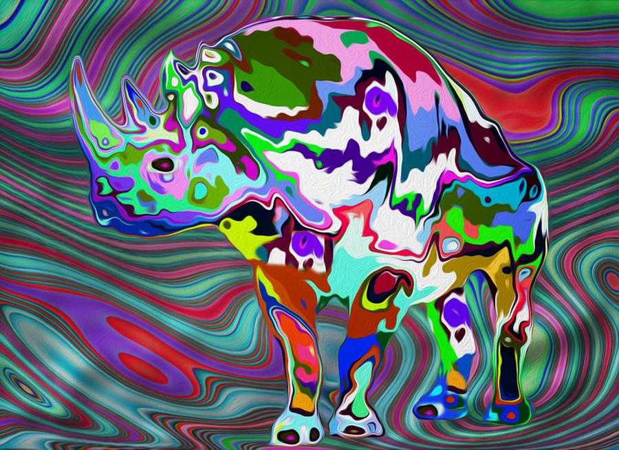 Digital Painting - Rhino - Abstract 2 by Jack Zulli
